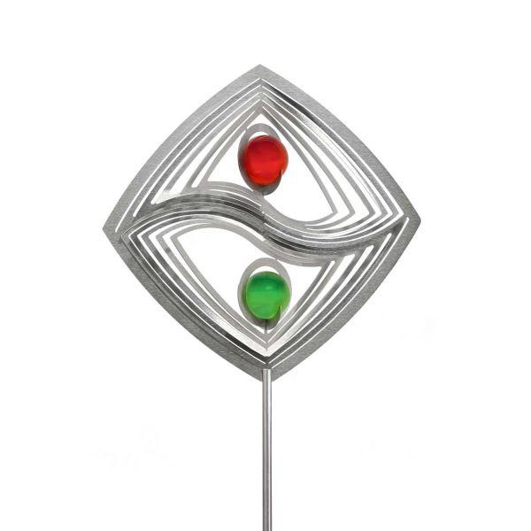 Gartenstecker Yin Yang Fusion mit 2x35mm Glaskugel