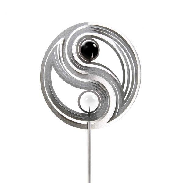 Gartenstecker Yin Yang schwarz-weiss 1