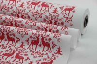 Blumenseidenpapier Nordic Christmas 50cm rot/weiß