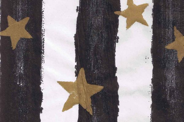 Blumenpapier Toskana Stars schwarz-gold 50cm