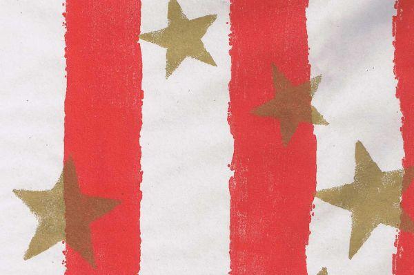 Blumenpapier Toskana Stars rot-gold 50cm