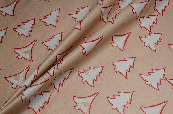 Blumenseidenpapier Tannenwald 50cm weiß-rot